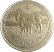 8 Dollars - Elizabeth II 4th Portrait; Year of the Ox -  revers