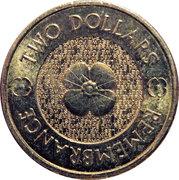 2 Dollars - Elizabeth II (Remembrance Day - Poppy Flower) -  revers