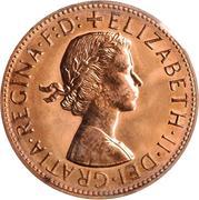 """1 penny - Elizabeth II (1er portrait ; avec """"F:D:"""") -  avers"""