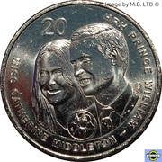 20 cents - Elizabeth II (Mariage royal) -  revers