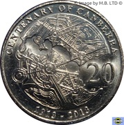 20 cents - Elizabeth II (Centenaire de Canberra) -  revers