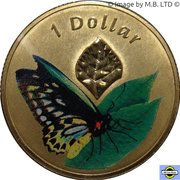1 dollar Papillons -  revers