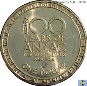 1 Dollar - Elizabeth II (100 Years of ANZAC) -  revers