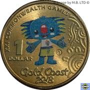 1 Dollar - Elizabeth II (4th portrait; Commonwelth Games-Borobi Mascot) -  revers