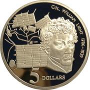 5 Dollars - Elizabeth II (3rd Portrait - Colonel William Light) -  revers