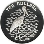 10 Dollars - Elizabeth II (Birds of Australia Series - Jabiru; Piedfort) -  avers