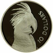 10 Dollars - Elizabeth II (Birds of Australia Series - Cockatoo; Piedfort) -  revers