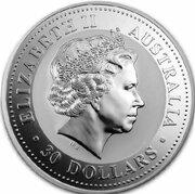 30 Dollars - Elizabeth II 4th Portrait - Year of the Rabbit - Silver Bullion Coin -  avers