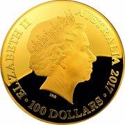 100 Dollars - Elizabeth II 4th Portrait - Celestial Dome - Southern Sky - Gold Proof -  avers