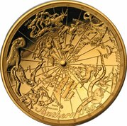 100 Dollars - Elizabeth II 4th Portrait - Celestial Dome - Southern Sky - Gold Proof -  revers