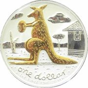 1 Dollar - Elizabeth II (4th Portrait - Mombassa Kangaroo - Silver Gilded Proof) -  revers
