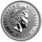 50 Cents - Elizabeth II (4th Portrait - Year of the Rabbit - Silver Bullion Coin) – avers