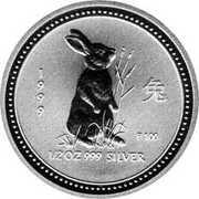50 Cents - Elizabeth II (4th Portrait - Year of the Rabbit - Silver Bullion Coin) – revers