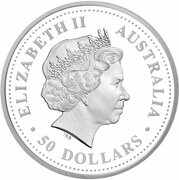 50 Dollars - Elizabeth II (4th Portrait - Black-Anther Flax-Lily - Platinum Proof) -  avers