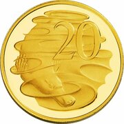 20 Cents - Elizabeth II (4th Portrait - Australian Miniature Money Gold Proof -  revers
