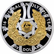 5 Dollars - Elizabeth II (4th Portrait (Australian Olympic Team Rio - Silver Proof) -  revers