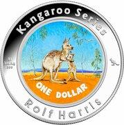 1 Dollar - Elizabeth II (4th Portrait - Harris Kangaroo - Silver Colourised Proof) -  revers
