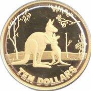 10 Dollars - Elizabeth II (4th Portrait - Rolf Harris Kangaroo - Gold Proof) -  revers