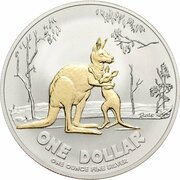 1 Dollar - Elizabeth II 4th Portrait - Rolf Harris Kangaroo - Silver -  revers