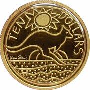 10 Dollars - Elizabeth II (4th Portrait - Ken Done Kangaroo - Gold Proof) -  revers