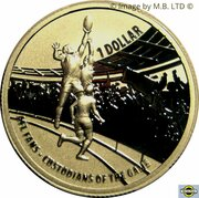 1 Dollar - Elizabeth II 4th Portrait - AFL Custodians Of The Game - Gold Plated Silver Proof -  revers