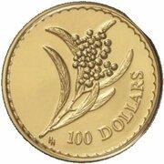 100 Dollars - Elizabeth II (4th Portrait - Golden Wattle - Gold Bullion Coin -  revers