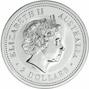 2 Dollars - Elizabeth II (4th Portrait - Year of the Pig - Silver Bullion Coin) – avers