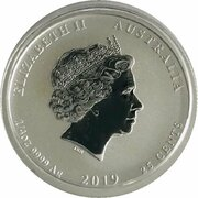 25 Cents - Elizabeth II (6th Portrait - Year of the Pig - Silver Bullion Coin) – avers