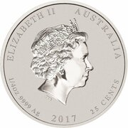 25 Cents - Elizabeth II (4th Portrait - Year of the Rooster - Silver Bullion Coin) – avers