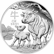 2 Dollars - Elizabeth II 6th Portrait - Year of the Ox - Silver Bullion Coin -  avers
