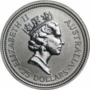 25 Dollars - Elizabeth II (3rd Portrait - Koala - Platinum) -  avers