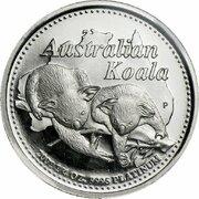 25 Dollars - Elizabeth II (4th Portrait - Koala - Platinum) -  revers