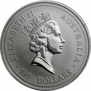 100 Dollars - Elizabeth II (3rd Portrait - Koala - Platinum) -  avers
