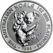 100 Dollars - Elizabeth II (3rd Portrait - Koala - Platinum) -  revers