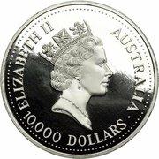 10,000 Dollars - Elizabeth II (3rd Portrait - Koala - Platinum) -  avers