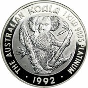 10,000 Dollars - Elizabeth II (3rd Portrait - Koala - Platinum) -  revers