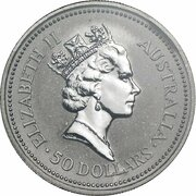50 Dollars - Elizabeth II (3rd Portrait - Koala - Platinum) -  avers