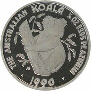 50 Dollars - Elizabeth II (3rd Portrait - Koala - Platinum) -  revers