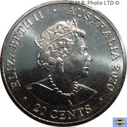 20 Cents - Elizabeth II (6th Portrait - AC/DC - Back in Black) – avers