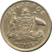 6 pence George VI (argent 500‰, sans