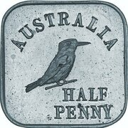 ½ Penny - George V (Kookaburra Pattern - Type 1, Silver) – revers