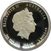 1 Dollar - Elizabeth II (Dragon & Phoenix; High Relief Silver Proof) -  avers