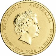 15 Dollars - Elizabeth II (4th Portrait - Year of the Mouse - Gold Bullion Coin) – avers