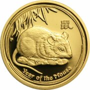 15 Dollars - Elizabeth II (4th Portrait - Year of the Mouse - Gold Bullion Coin) – revers