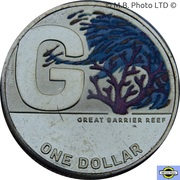 1 Dollar - Elizabeth II (6th Portrait - The Great Aussie Coin Hunt 2 - Coloured Letter G) – revers
