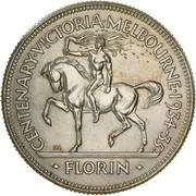 1 Florin - George V (Victoria and Melbourne Centenary) – revers