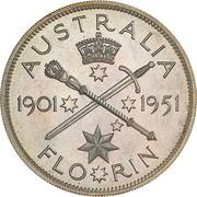 1 florin - George VI (50 ans de la fédération, essai) – revers