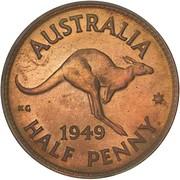 "½ Penny - George VI (sans ""IND:IMP"") – revers"