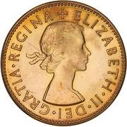 "½ Penny - Elizabeth II (1er portrait ; sans ""F:D:"") – avers"