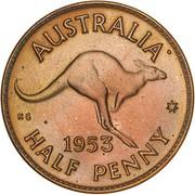 "½ Penny - Elizabeth II (1er portrait ; sans ""F:D:"") – revers"